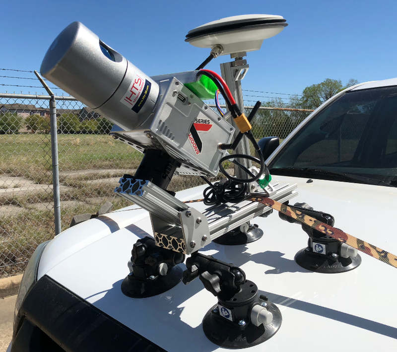 Vehicle Mapping - LiDAR USA Snoopy A-Series secured on the hood of a truck ready to begin scanning