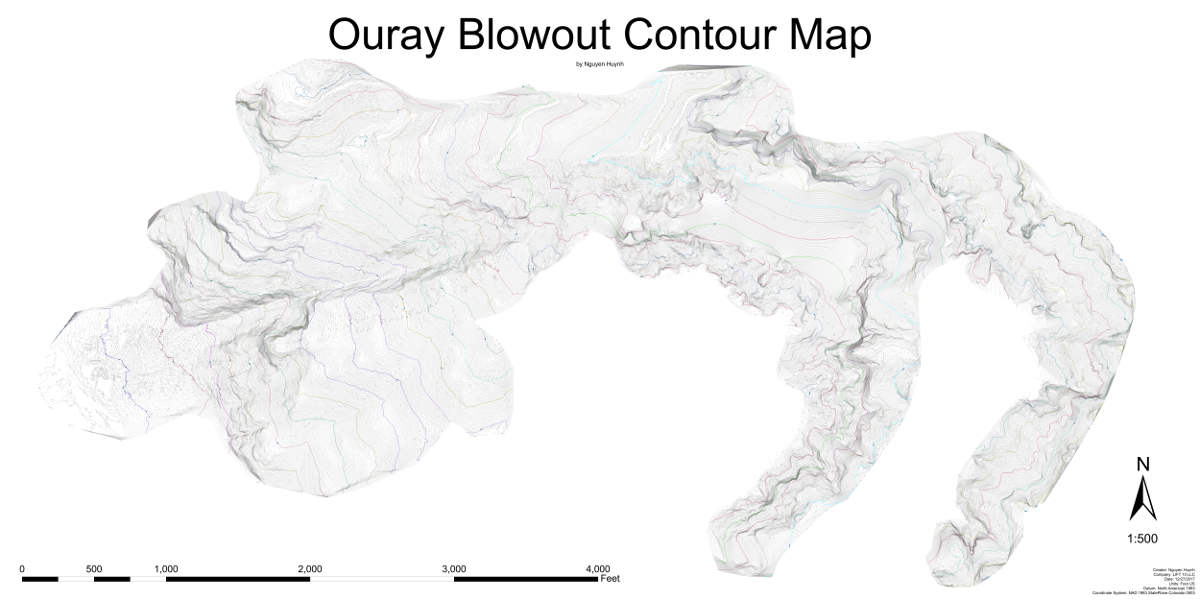 Ouray Blowout Contour Map