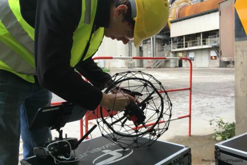 Flyability Operator inspecting ELIOS